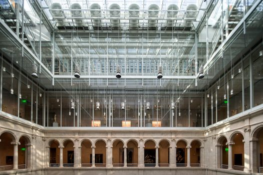 interior view of atrium in the Harvard Art Museums