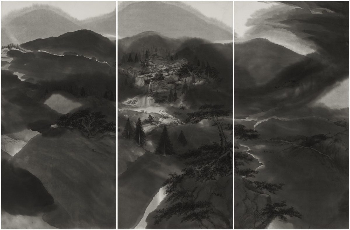 Minol Araki, Japanese, 1928–2010 Boundless Peaks, 1983 3 panels from a set of 24; ink on paper Gift of David T. Frank and Kazukuni Sugiyama, 2012.74.s-u
