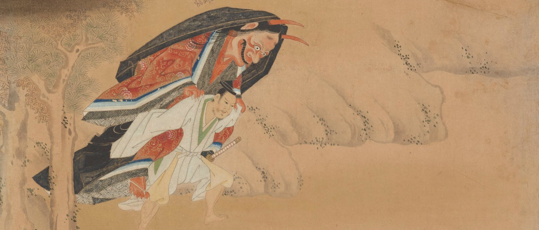 Detail, Warrior Omori Hikoshichi carrying demon on his back