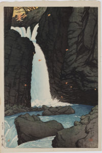 View of Souvenirs of Travel: Yuhi Waterfall, Shiobara by Kawase Hasui (1883-1957) Woodblock print. Taisho period, c. 1920.