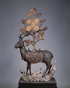 View of Deer Bearing Symbols of the Kasuga Deities, Nanboku-chō period, 14th century, bronze, Hosomi Museum, by unknown artist