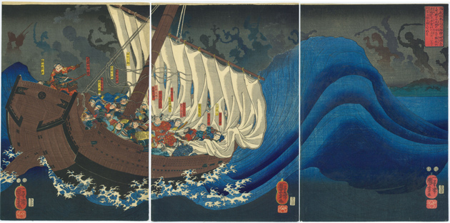 View of Yoshitsune's ship is attacked by ghosts of the Taira warriors at Daimotsu Bay, circa 1851, by Utagawa Kuniyoshi, color woodblock print: oban tate-e triptych, each sheet 14 1/4 x 9 1/2 in., Gift of the Asian Art Council, 2014.19.2, Courtesy of Sebastian Izzard Asian Art LLC.