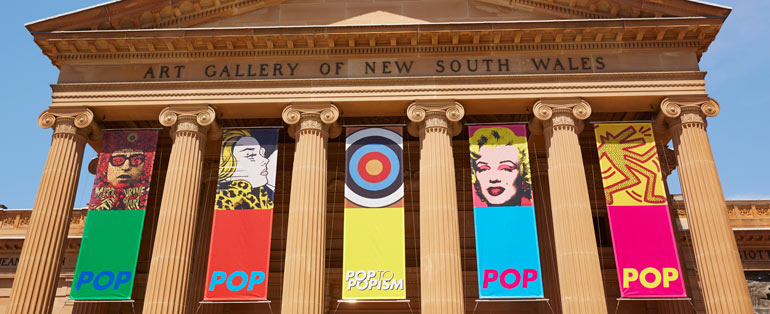 View of hanging banners along the front of Art Gallery of NSW, Pop to popism at the Art Gallery of NSW, 1 November 2014 – 1 March 2015