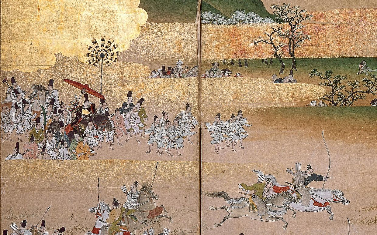 Screen painting of Japanese warriors on horseback